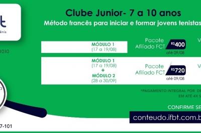 CLUBE JUNIOR - 7 A 10 ANOS - MÉTODO FRANCÊS PARA INICIAR E FORMAR JOVENS TENISTAS