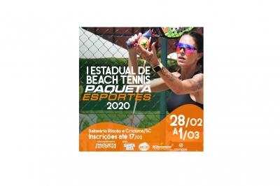 Inscrições para a primeira etapa do I Estadual de Beach Tennis – Circuito Paquetá Esportes 2020 já estão abertas!