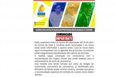 ADIADO CURSO DE CAPACITAÇÃO BEACH TENNIS