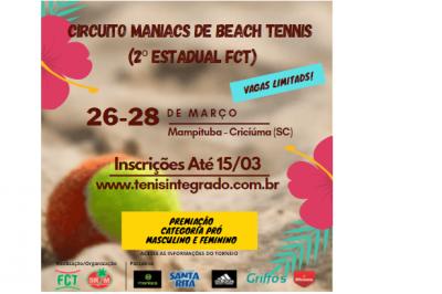ABERTAS AS INSCRIÇÕES CIRCUITO MANIACS DE BEACH TENNIS (2ª ETAPA)