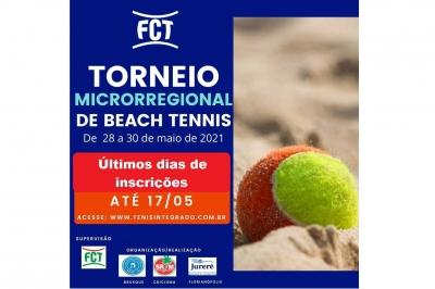 ÚLTIMOS DIAS DE INSCRIÇÕES - MICRORREGIONAL DE BEACH TENNIS FCT