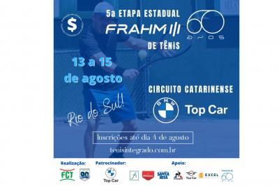 INSCRIÇÕES ABERTAS – CIRCUITO BMW TOP CAR DE TÊNIS ETAPA FRAHM 60 ANOS (5º ESTADUAL FCT)