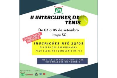 ÚLTIMOS DIAS DE INSCRIÇÕES II INTERCLUBES DE TENIS CLASSES DE TÊNIS