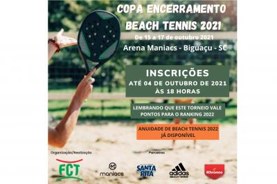 ULTIMOS DIAS DE INSCRIÇÕES COPA ENCERRAMENTO DE BEACH TENNIS 2021