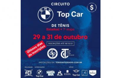 ÚLTIMOS DIAS DE INSCRIÇÕES – CIRCUITO BMW TOP CAR DE TÊNIS (7º ESTADUAL FCT)