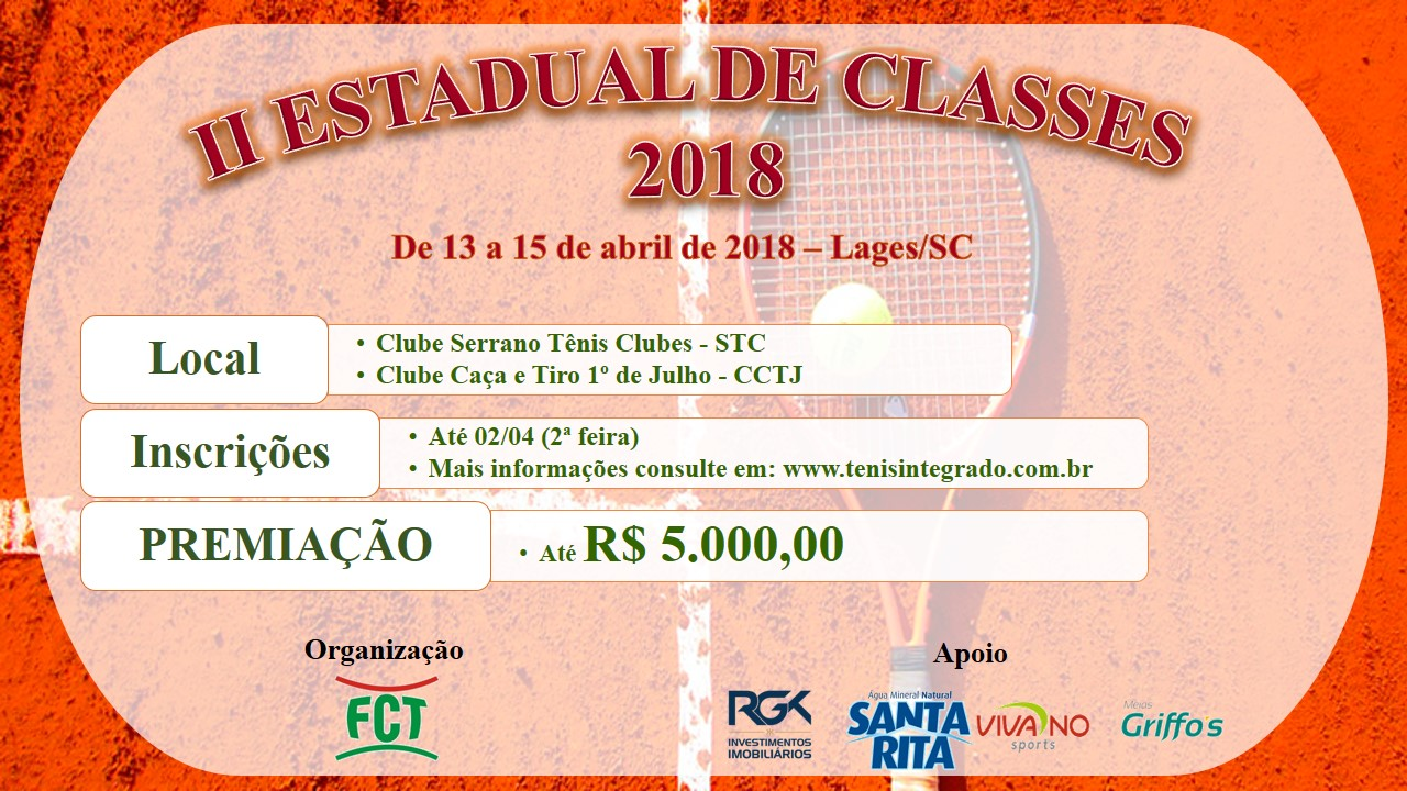 II ESTADUAL CLASSES DE TÊNIS 2018 - INICIA AMANHÃ 13/04 - (6ª feira)