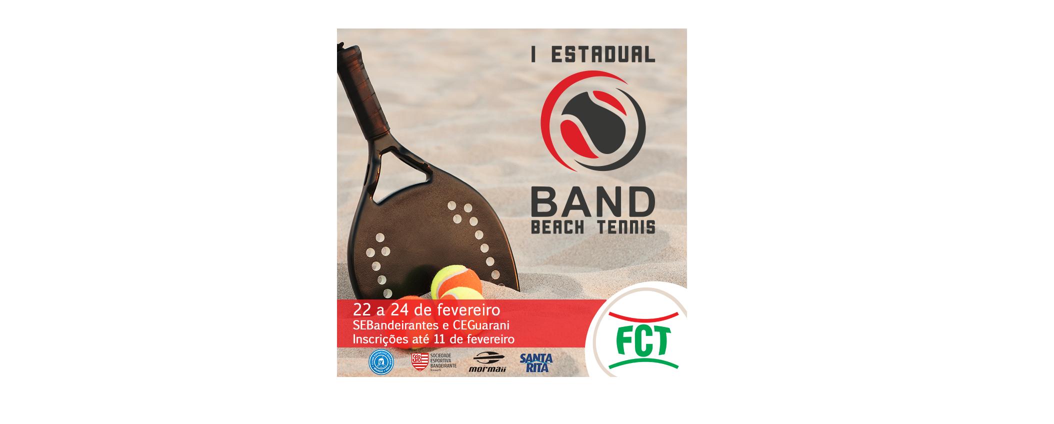 INSCRIÇÕES ABERTAS PARA O I ESTADUAL BAND DE BEACH TENNIS 2019
