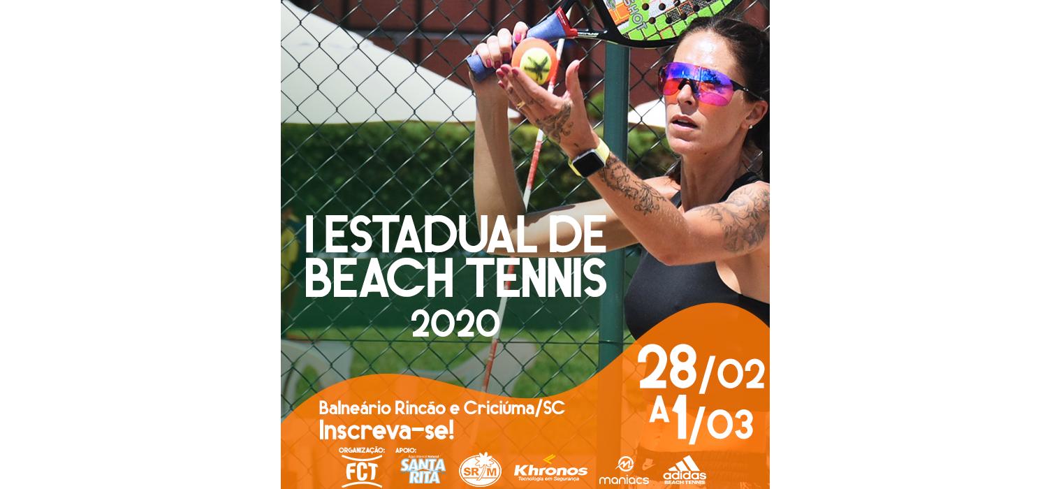 Últimos dias de inscrições para a primeira etapa do I Estadual de Beach Tennis 2020!