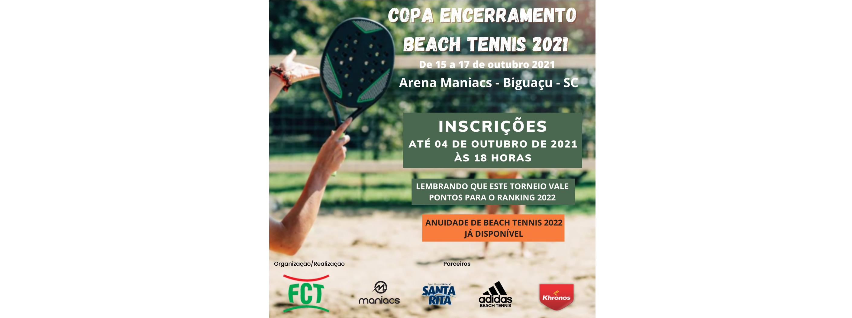 INSCRIÇÕES ABERTAS – COPA ENCERRAMENTO DE BEACH TENNIS 2021